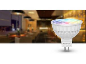 Светодиодная лампочка MiLight MR16 4Вт ССT + RGB 12 V, фото 2