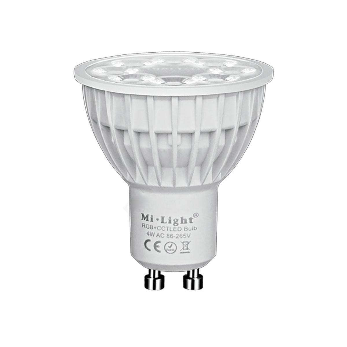 Светодиодная лампочка спотлайт MiLight MR16 GU10 4Вт ССT + RGB (2700-6500K) 220V