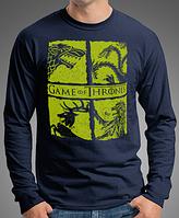 "0016-LS-NY   Мужская футболка с длинными рукавами ""Game of Thrones""    Темно-синяя"