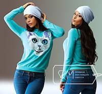 """Стильная женская кофта  """" Лысый кот """" SK House, фото 1"""