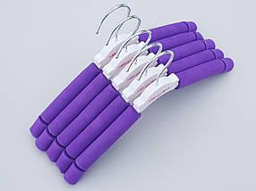 Плечики вешалки тремпеля поролоновые сиреневого цвета, длина 30 см, в упаковке 5 штук, фото 3