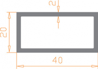 Алюминиевая труба прямоугольная 40*20*2 / БП