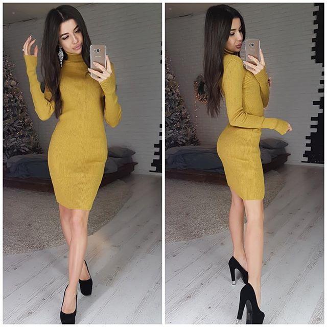 Платье-гольф 42-48 горчица