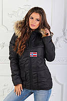 Женская зимняя куртка на синтепоне с капюшоном и опушкой Napapijri