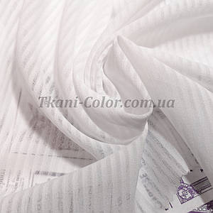 Ткань креп-шифон белый полоска 4мм