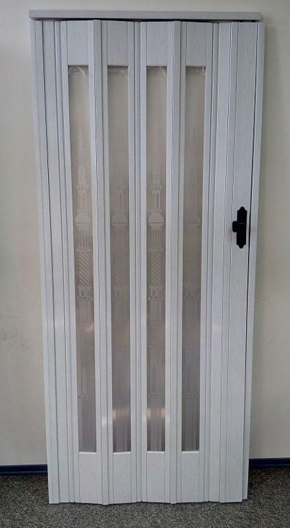 Дверь гармошка остекленная 860х2030х12 мм Белый Ясень №610 (стекло башенки)