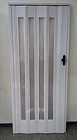 Дверь гармошка остекленная 860х2030х12 мм Белый Ясень №610 (стекло башенки), фото 1