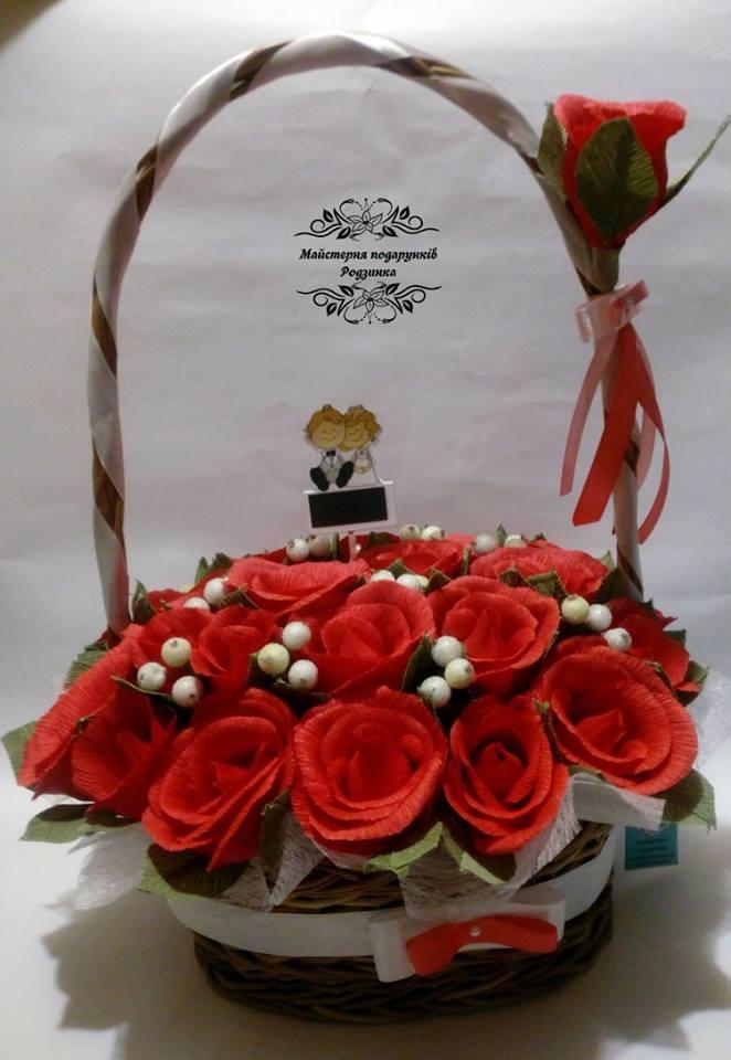 Солодкий букет композиція Троянди в корзині
