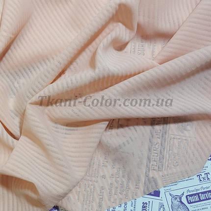 Тканина креп-шифон світло-персиковий смужка 4мм, фото 2