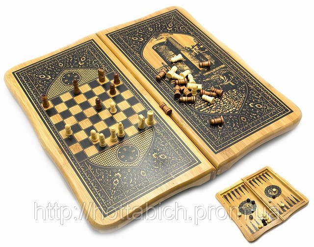 Нарды с шахматами бамбуковые