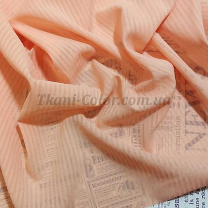 Тканина креп-шифон персиковий смужка 4мм, фото 2