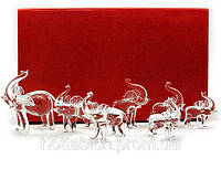 Слоны хрустальные набор 7 шт код 18861
