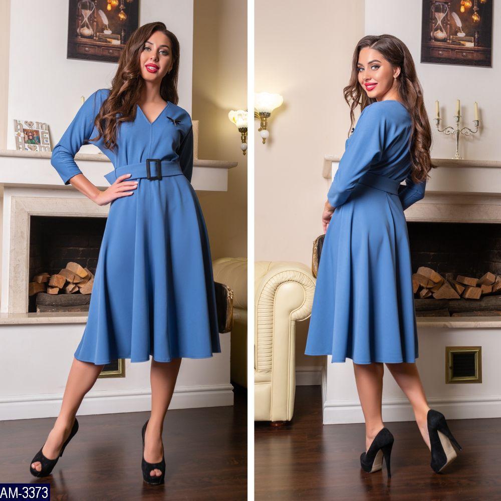 Платье женское трикотажное с поясом, юбка клеш, рукав 3/4. Размер 42,44,46.