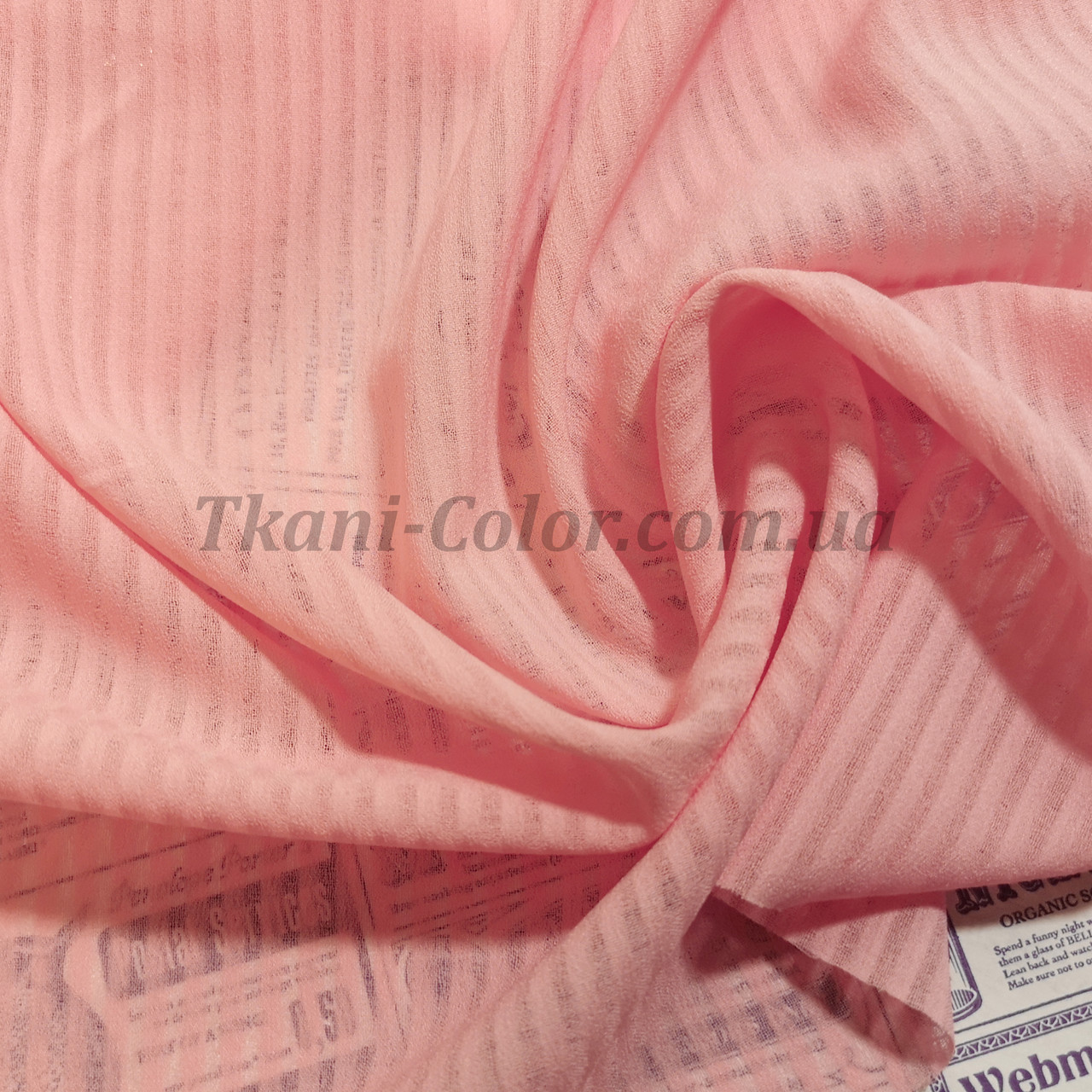 Ткань креп-шифон розовый полоска 4мм