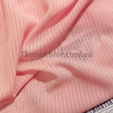 Ткань креп-шифон розовый полоска 4мм, фото 2