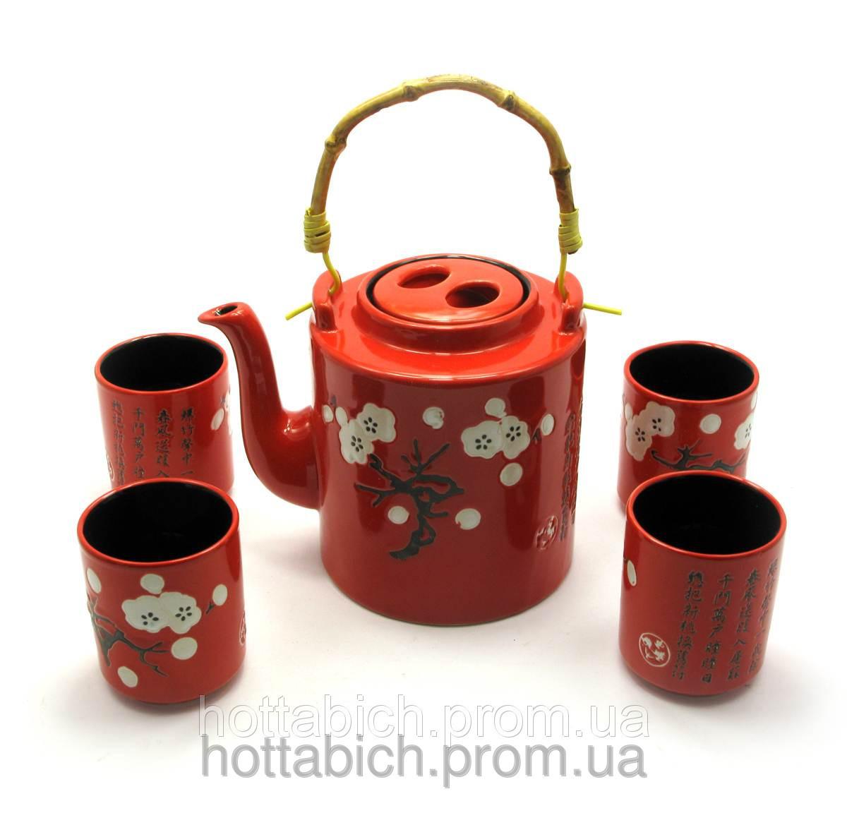 Сервиз керамический красный Сакура чайник и 4 чашки