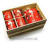 Сервиз керамический красный Сакура чайник и 4 чашки, фото 2