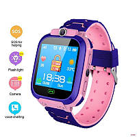 Детские часы-телефон S-9. Прослушка, сенсорный экран, камера, фонарик, мониторинг местоположение. Розовые