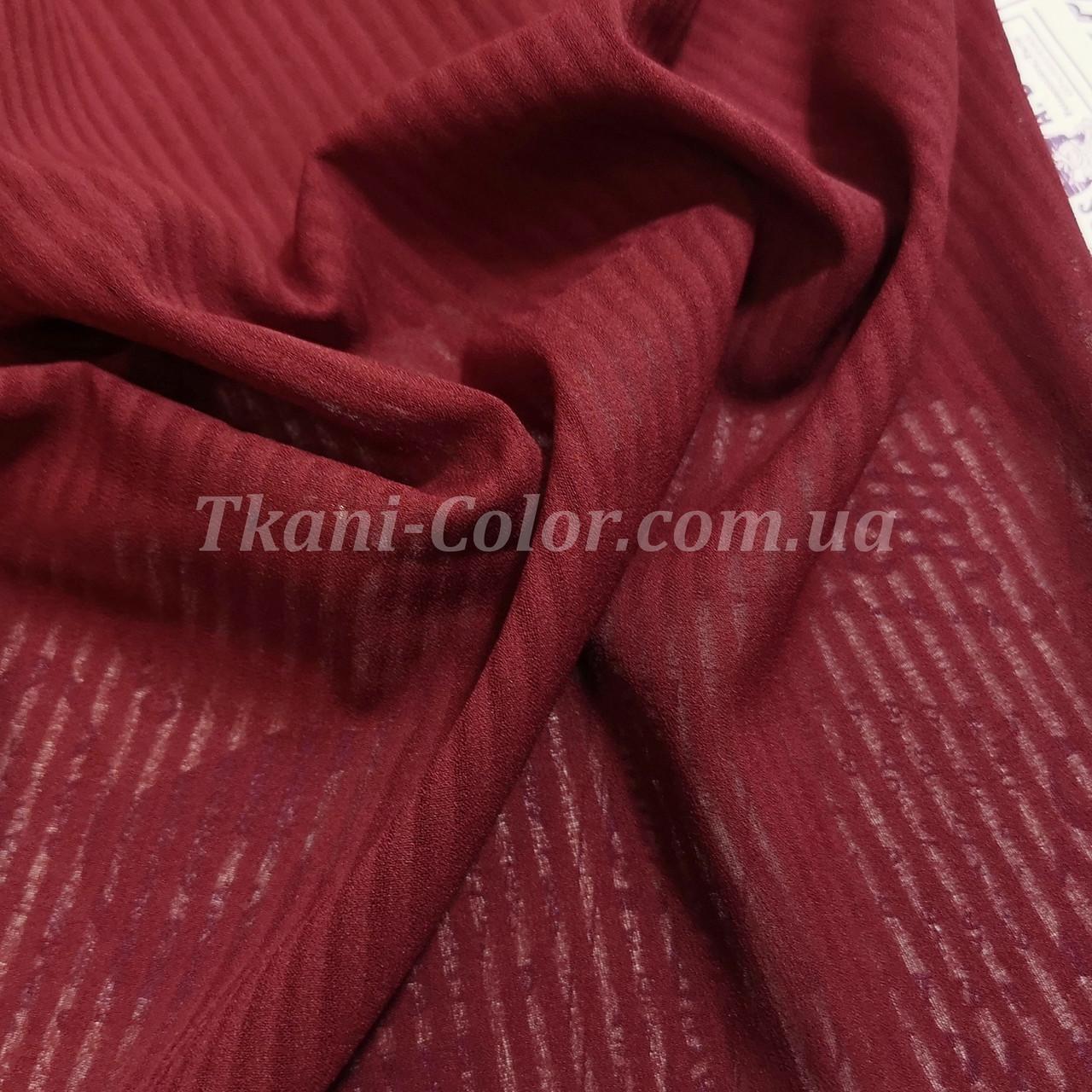 Ткань креп-шифон бордовый полоска 4мм