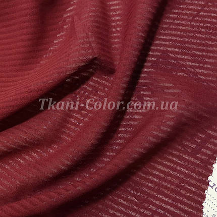 Ткань креп-шифон бордовый полоска 4мм, фото 2