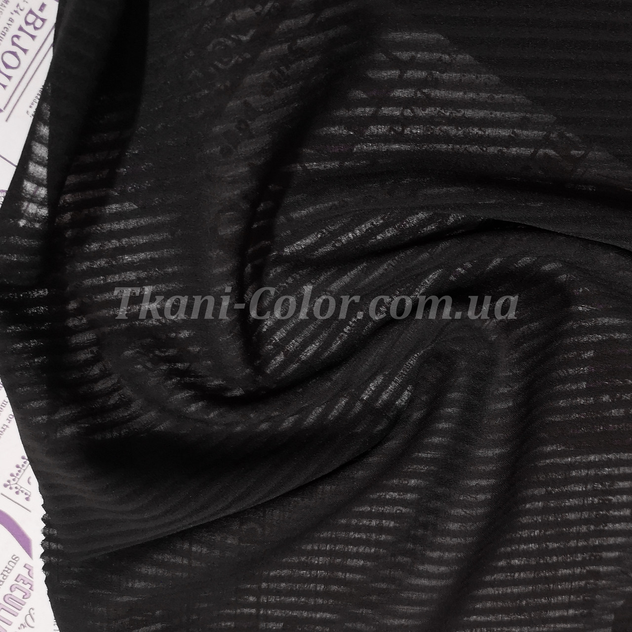 Тканина креп-шифон чорний смужка 4мм