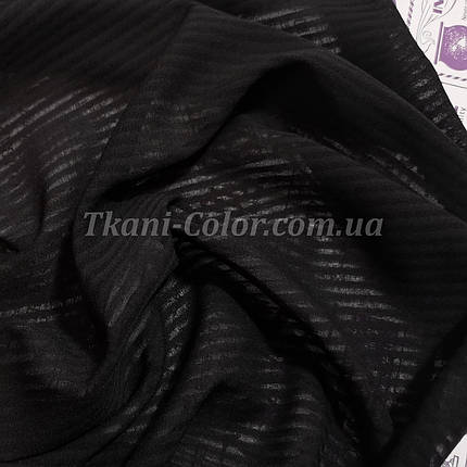 Тканина креп-шифон чорний смужка 4мм, фото 2