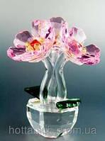 Хрустальный сувенир Три цветка в горшке