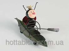 """Декоративная металлическая фигурка """"Божья коровка на листе"""""""