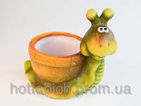 Фигурка  из керамика  Улитка в горшочке