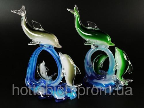"""Фигурка стеклянная  """"Три дельфина на волнах"""""""