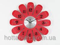 Часы настенные дерево красные Ромашка