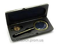 Морской набор Лупа с компасом в деревянном футляре на подарок