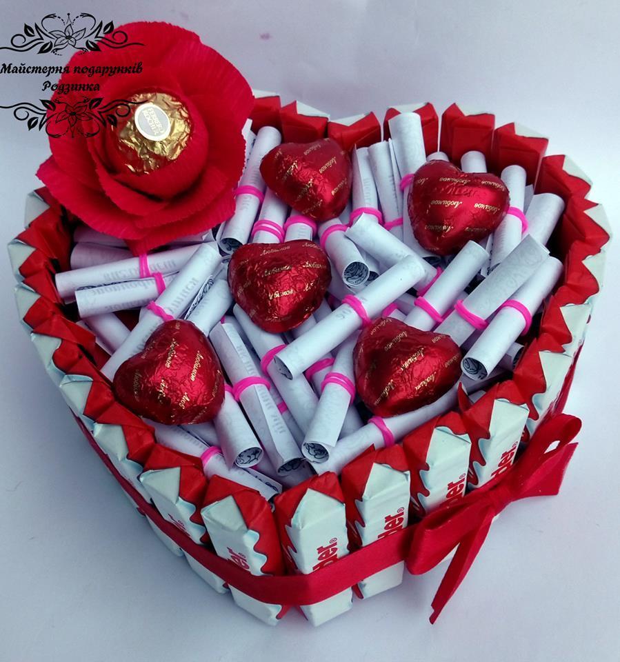 Композиція торт серце MAXI з записками 51 причина кохання або 51 поза камасутри