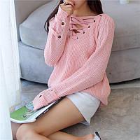 Женский удлинённый свитер туника с колечками на шнуровке розовый