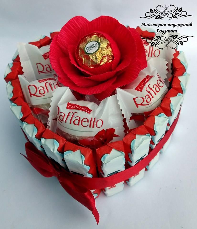 Композиція торт серце  MINI з Раффаелло.