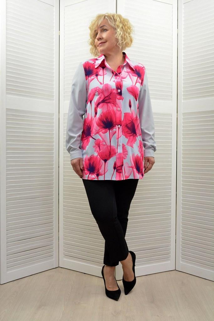 """Блуза """"Офис"""" принт цветы - Модель 1677-3"""