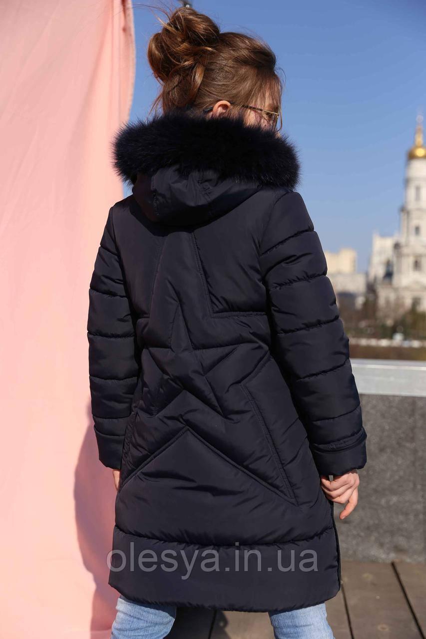 Пальто детское зимнее Вики-2 ТМ Нуи Вери - Размеры 110 - 122 Натуральный мех песца