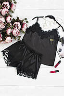 Шелковый комплект для сна.женский,черный 42, 44, 46, фото 1