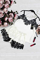 Шелковый комплект для сна.женский,белого цвета 44, 46,48