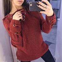 Женский удлинённый свитер туника с колечками на шнуровке бордовый, фото 1