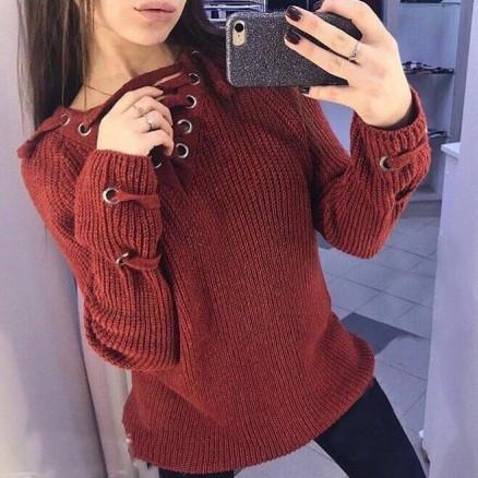 c7238b16806 Женский удлинённый свитер туника с колечками на шнуровке бордовый -  PrettyLady.com.ua в