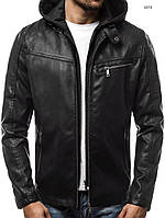 Мужская кожаная куртка демисезонная с капюшоном отличного качества e92c516de3e87
