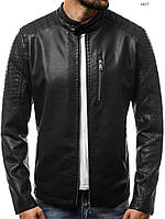 7e561ca9768 Мужская кожаная куртка бомбер демисезонная черная отличного качества XXL