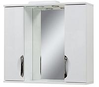 Зеркало в ванную 80 04 врезная ручка с двумя шкафчиками