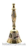 Колокольчик с ручкой бронзовый цветной