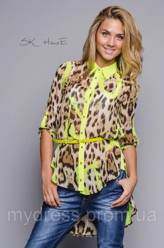 Блуза леопард с поясом
