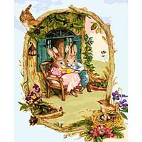 Картина по номерам Милые заячьи посиделки 40*50 см, 5 уровень сложности
