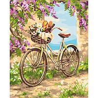 Картина по номерам Велосипед утро в деревне 50*40 см, 3 уровень сложности