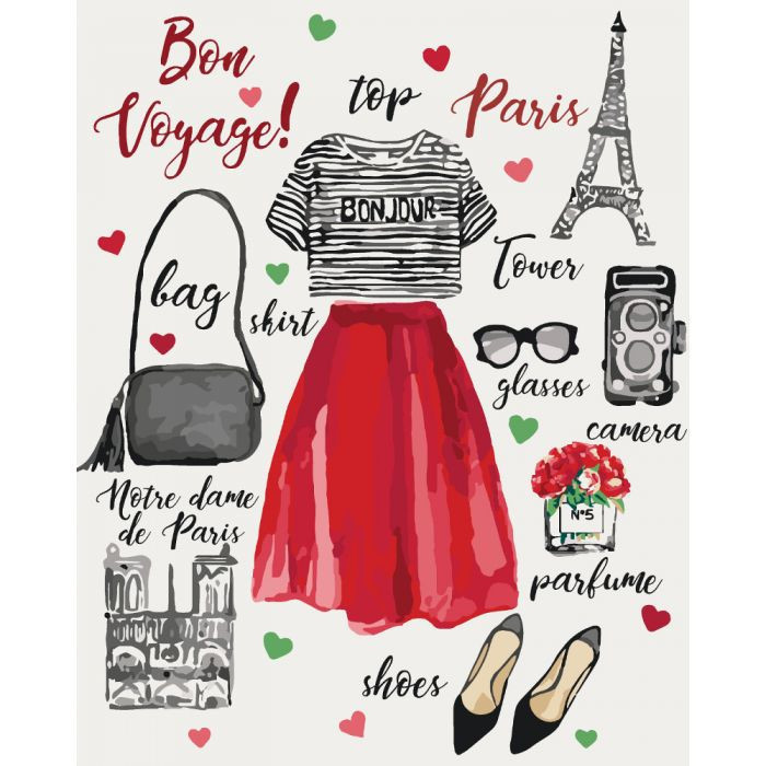 Картина по номерам Мода. Bon voyage 40*50 см, 4 уровень сложности