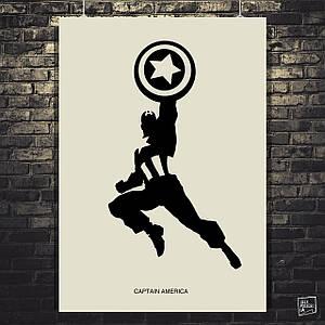 Постер Капитан Америка, Captain America, в прыжке, чёрно-белый минималистичный арт. Размер 60x43см (A2). Глянцевая бумага